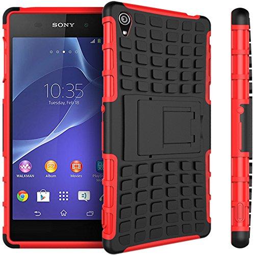 Preisvergleich Produktbild Nnopbeclik Sony Xperia Z3 Hülle,  Dual Layer Rugged Armor stoßfest Handy Schutzhülle Silikon Tasche für Sony Xperia Z3 - Rot + 1x Display Schutzfolie Folie