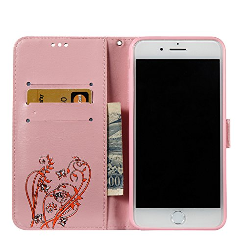 Hülle für iPhone 7 Plus, Tasche für iPhone 8 Plus, Case Cover für iPhone 7 Plus, ISAKEN Glitzer Strass Kristall Blume Schmetterling Muster Folio PU Leder Flip Cover Brieftasche Geldbörse Wallet Case L Orange Blume Pink