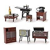 Odoria 1/24 Miniatur Möbel Vintage japanische Möbel 6 Stück in 1 Packung Für Puppenhaus Möbel Zubehör