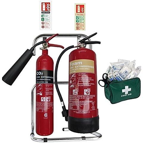 Pequeña Oficina de Seguridad Pack. Juego de extintor con doble soporte y ID signos. Cubre todos los tipos de peligro de incendio. Ideal para pequeñas lugares de trabajo. BS kitemarked