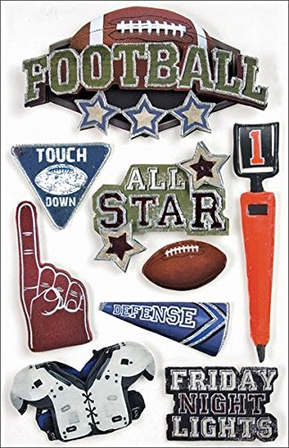 Paper House Productions STDM-0017E 3D Cardstock Stickers, Football (3-Pack) by PAPER HOUSE