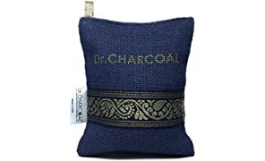 Dr. CHARCOAL Non-Electric Air Purifier, Deodorizer and Dehumidifier for Car, Bathroom and Kitchen - 200 Grams (Classic Neel)
