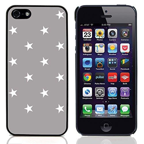 Graphic4You Sterne Muster Design Harte Hülle Case Tasche Schutzhülle für Apple iPhone 5 und 5S (Rot) Grau