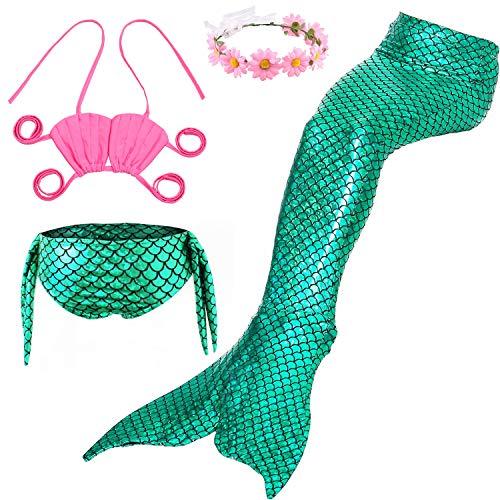 Mädchen 4 Stück Meerjungfrauenschwanz Badebekleidung Glänzend Mermaid Kostüm Schwimmen Bikini Geburtstagsgeschenk,Green,150cm