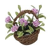 Miniatur Lila Nelke Blume Pflanze w / Korb für Puppenhaus Hause Dekoration