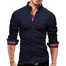 Camisa Hombre, Manadlian Camisas de cuadros de hombres Camisetas de manga larga Negocio Slim Fit (L, Armada)