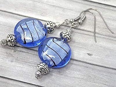 Boucles d'oreilles Venezia en acier inoxydable et perles plates en verre de Murano bleu pastel