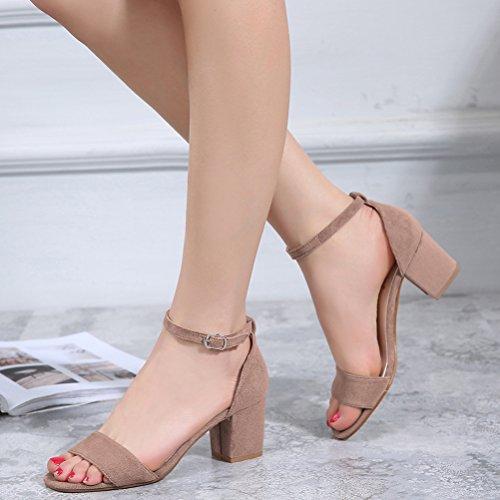 Vogstyle Nuovo Donna Sandali Punta Aperta Alla Caviglia Scarpe Con Cinturino Stile 1-Cammello
