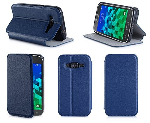 Etui luxe Samsung Galaxy Core Prime SM-G360/SM-G360F 4G / Core Prime VE Value Edition bleu Ultra Slim Cuir Style avec stand - Housse coque de protection Samsung Galaxy Core Prime LTE 4G G360/G360F/G361F bleue - accessoires pochette XEPTIO case