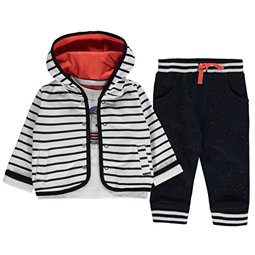 Crafted Baby Jungen Set College Jacke T Shirt Jogginghose 3 Teile Outfit Marineblau Jacke 0-3 Mnth (Brust-front-print)