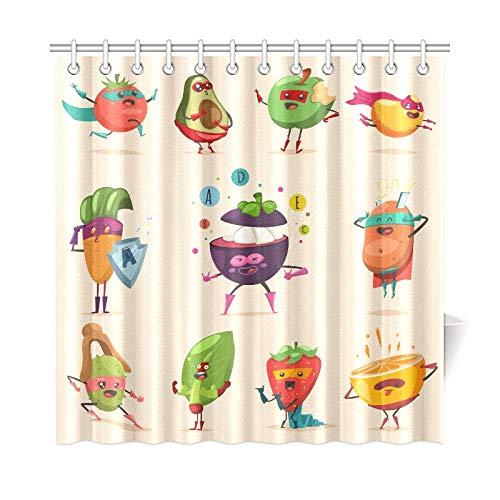 JOCHUAN Home Decor Bad Vorhang Lustige Obst Gemüse Superheld Kostüm Polyester Stoff Wasserdicht Duschvorhang Für Badezimmer, 72 X 72 Zoll Duschvorhänge Haken Enthalten