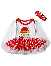 JYC Ropa para Chicas,Conjuntos para niñas,Niñito Recién Nacido Bebé Chicas Carta PrincesaTutu Vestir+Banda Pelo Navidad Sombrero Conjunto