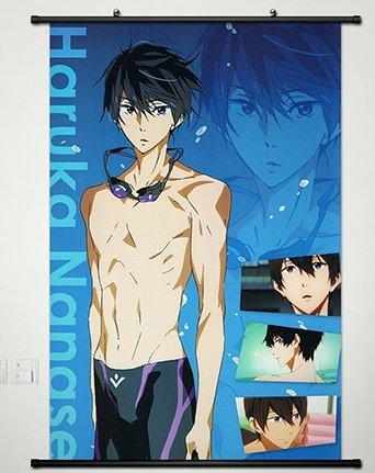 Laohujia Home Decor Anime Free! - Iwatobi Swim Club Wall Scroll Poster Fabric Painting Haruka Nanase 23.6 x 35.4 Inches -079