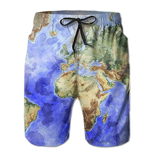 Generic Weltkarte Ocean Sea Blue Herren Shorts Badehose Quick Dry Strand Surfen Laufen Schwimmen Wasserhose L