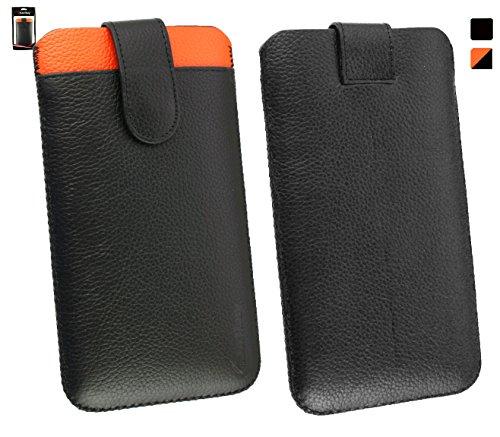 Emartbuy® Genuine Kalbsleder Leder Schwarz/Orange Slide in Hülle Case Cover Sleeve (Size 5XL) with Credit Card Slot und Pull Tab Mechanism geeignet für Allview P6 QMax Smartphone