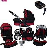 Chilly Kids Dino Kinderwagen Safety-Mega-Set (Winterfußsack, Sonnenschirm, Autositz & ISOFIX Basis, Regenschutz, Moskitonetz, Schwenkräder) 23 Rot & Schwarz
