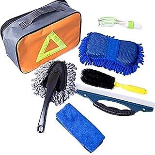 Auto Reinigungsset Autowaschwerkzeuge 7 Set mit Tasche Einschließlich Auto Microfiber Reinigungsbürste Auto Reinigungstücher Fenster Wasserschaber Doppelkopf Auto Vent Brush Waschschwamm und Duster