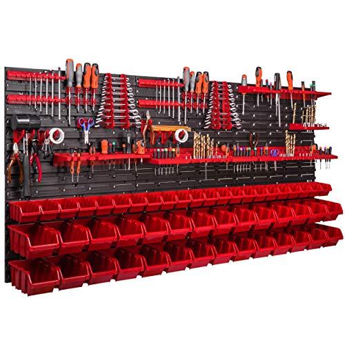 Système de rangement mural - 170 x 78 cm - Support à outils - 50 pièces Étagère de rangement modulable pour outils avec boites de rangement