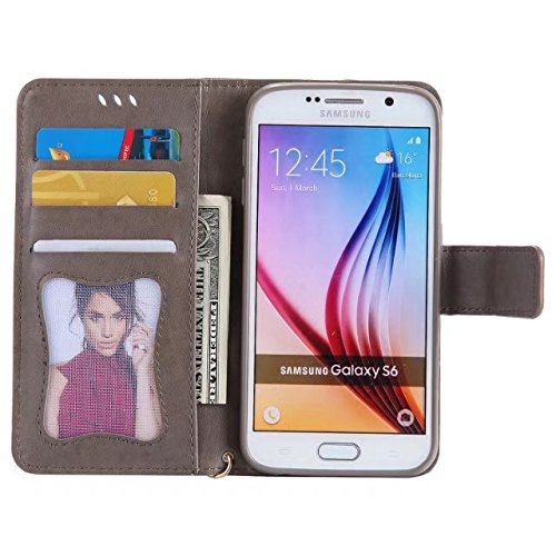 Horrizontal Folio Stand PU Ledertasche, Geldbörse Geldbörse Abdeckung Fall mit Lumious Shining Effekt & Lanyard für Samsung Galaxy S6 ( Color : Rose-gold ) Gray