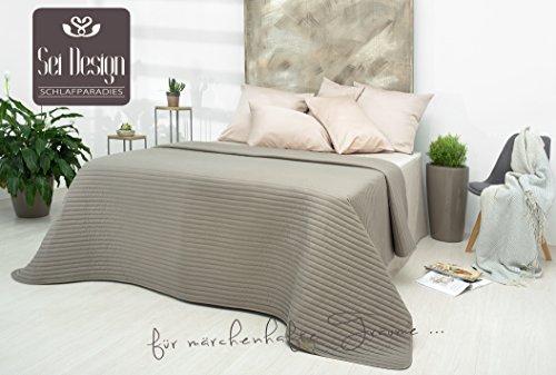 sei Design Luxus Tagesdecke   Überwurf   Wendedecke Gesteppt 240 x 260 cm - Trendige Farbe, Moderne Steppung und Hochwertige Gestickte Applikation.