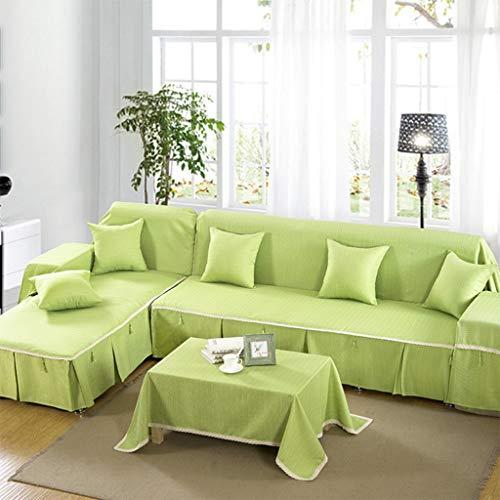 ZCM Copridivano,4 Stagioni in Cotone E Lino Stile Tinta Unita Universale Completo Antiscivolo Copridivani Verde A002-3(Un Pezzo) (Dimensioni : 130 * 130cm-tablecloth)