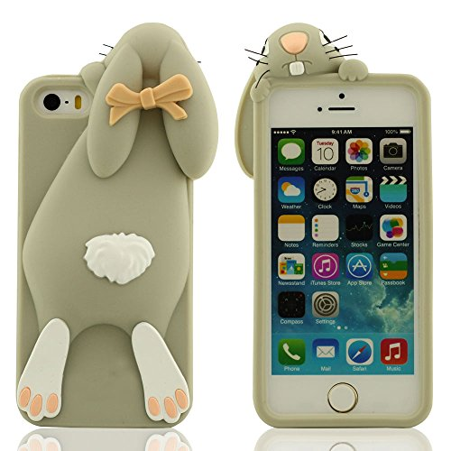 Spécial Mignonne Lapin Apparence Conception iPhone 5S 5C Coque, Étui de Protection iPhone 5 5S 5C 5G, Souple Silicone Protective Case Prime Protection Slap-up style Doux au toucher Anti choc Gris
