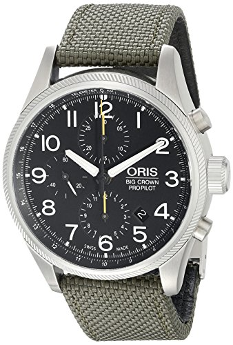 Oris Propilot 77476994134LS 44mm Automatic Stainless Steel Case Green Canvas Anti-Reflective Sapphire Men's Watch
