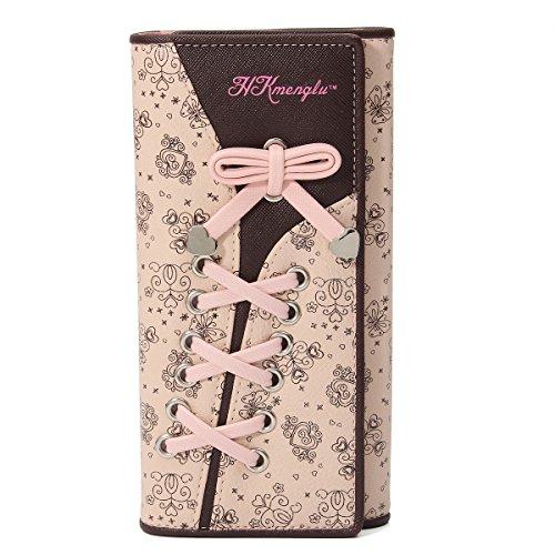 Portefeuille Femme, Charminer Porte Monnaie Élégant Sac à Main Long Cuir Floral Ruban Nombreux Rangement en Rose Marron
