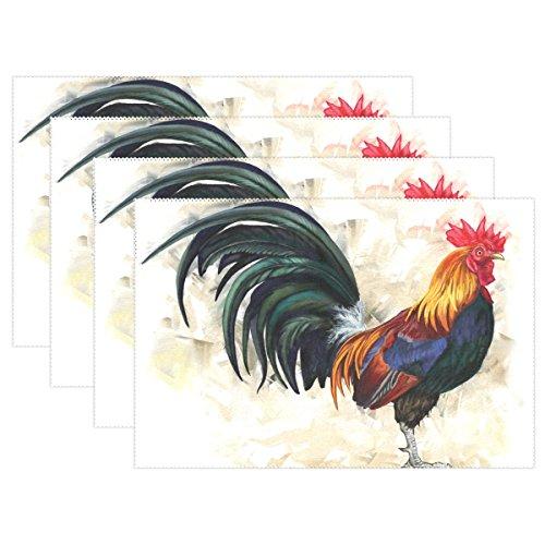 naanle Gemälde A Big Colorful Rooster Cock Platzdeckchen Set von 1/4/6waschbar Tisch Matte für Küche Esstisch 30,5x 45,7cm Platzsets Traditionell multi (Tisch Matten Set 6)