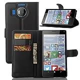 Tasche für Nokia Microsoft Lumia 950 XL Hülle, Ycloud PU Ledertasche Flip Cover Wallet Case Handyhülle mit Stand Function Credit Card Slots Bookstyle Purse Design schwarz