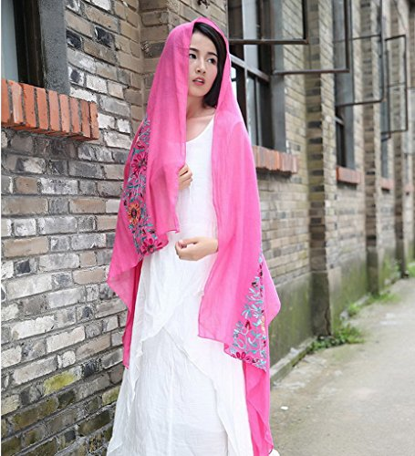 ACMEDE - Echarpe Foulard Long Doux Vintage Bordé Fleurs En Coton Cou Wrap Chale Pour Femme Ete Hiver Rose Rouge
