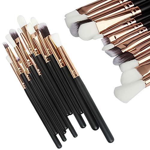 Gespout Pinceau de maquillage professionnel 12pcs Différents styles Laine Manche en bois Maquillage pour les yeux Noir or