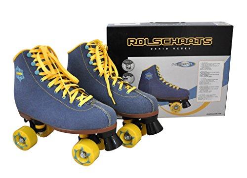 Nijdam 52rp Denim Rebel Retro Roller Skates, Unisex, 52RP, Denim Blue/Yellow