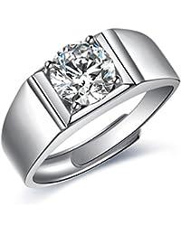 JiangXin Bague Homme réglable Argent Sterling 925 Luxe Classique simulée Diamond Anneau en pour Fiançailles Alliance Mariage Anniversaire ring taille de Bagues changer