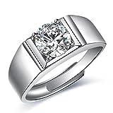 JiangXin Ring herren Verstellbar Silberring Gentleman Öffnung 925 Sterling Silber Men's ring Halo AAA CZ Luxus Hochzeit/Jahrestag/Alltag Geschenk