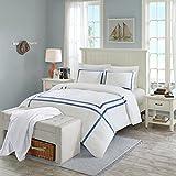 SCM Aberdeen 3-teilig Bettwäsche Set Seesucker Bettgarnitur im Hotelbettwäsche-Look Modern Doppelbett weiß Navy, 230x220+50x75cm