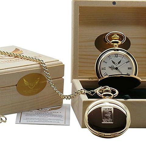 Rolls Royce Gold Pocket Watch 24 Carat Certified Clad Luxury Wooden Gift Case Spirit Phantom Ghost