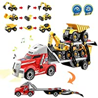 Vanplay Assembly Large Transporter Truck Take Apart Excavator Toy,7-in-1 DIY Light and Sound Construction Vehicle Carrier Car Educational Game for Kids Boys Aged 3 4 5 Years