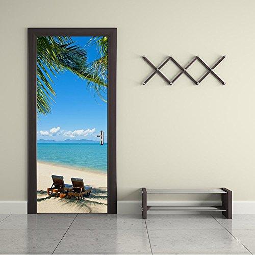 Sommer-Strand-Tür-Aufkleber 3D Hauptdekor-wasserdichtes selbstklebendes entfernbares DIY 200 * 77cm (Mädchen Für Kleinkind-bett-blatt-satz)