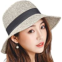 Leisial Sombrero de Pescado Paja Gorro de Playa ala Ancha Sombrero para Sol Protector Solar de Verano para Mujeres