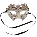 Sliver Warrior Roman Greek Hercules Design Venetian Men Masquerade Mask - Silver by L.M.K