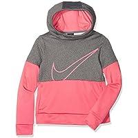 Nike G NK HOODIE PO THERMA GX - Sudadera, Niñas, Gris/Rose (CARBON HEATHER/SEA CORAL), M