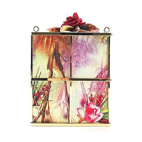Kreative Geschenkbox Blume Abendtasche Brautkleid Nachtclub Mode diagonal Schulter Paket Kupplung