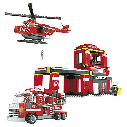 Ausini - Juego de construcción Brigada bomberos, camión y helicóptero - 697 piezas (ColorBaby 42240)