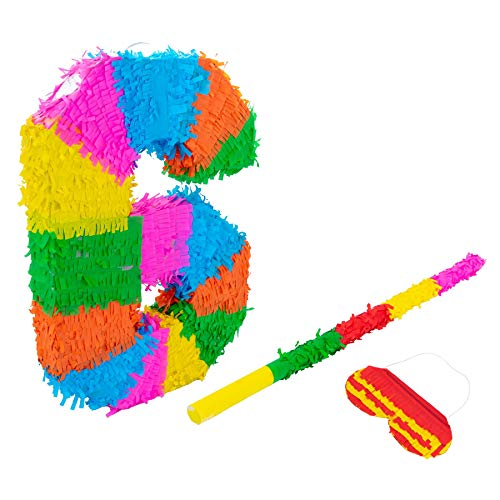 Fax Potato Nummer 6 Pinata Set mit Stick & Blindfold - 50 x 7,5 x 35 cm - Rainbow
