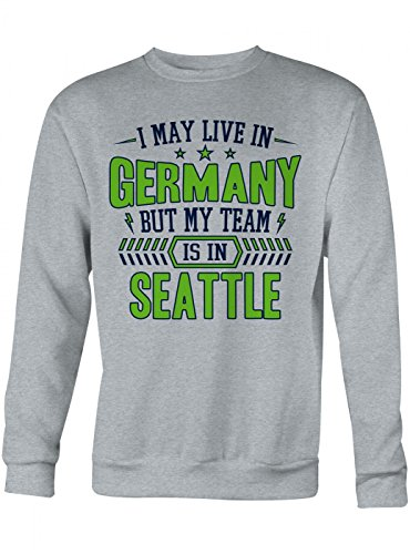 Shirt Happenz Seahawks Mein Team Premium Sweatshirt Seattle Football Sport Unisex Sweatshirts, Farbe:Graumeliert;Größe:XL