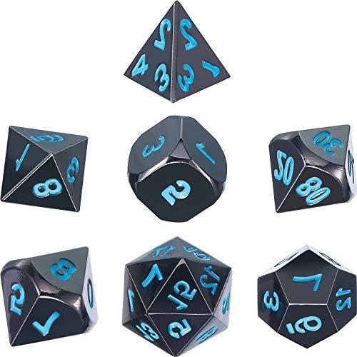 Würfel Rollen (Lvcky Zink Legierung glänzend schwarz Bemalt und Blau Zahlen Metall Polyhedral 7-die Würfel Set Metall Rolle Spielen Spiel Würfel Set für D und D, RPG Würfel Gaming, D & D, Mathematische Teaching)