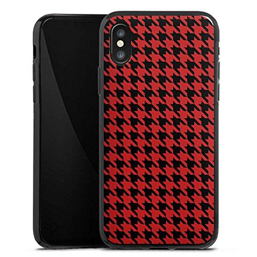 Apple iPhone X Silikon Hülle Case Schutzhülle Muster Hahnentritt Rot Schwarz Silikon Case schwarz