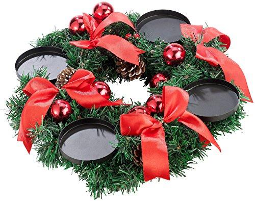 Britesta Weihnachtskranz: Adventskranz mit rotem Schmuck, Ø 30 cm (Adventskränze modern)