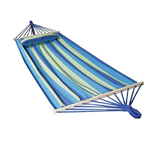 Holifine® 200x100cm Oxford Hängematte Sommer Gartenhängematte mit 2er Holz Belastbar bis 120KG [Blau Streifen]